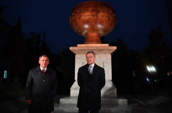 Церемония открытия скульптурной композиции «Тайказан»