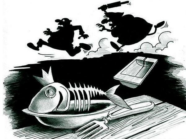 карикатура рыбка