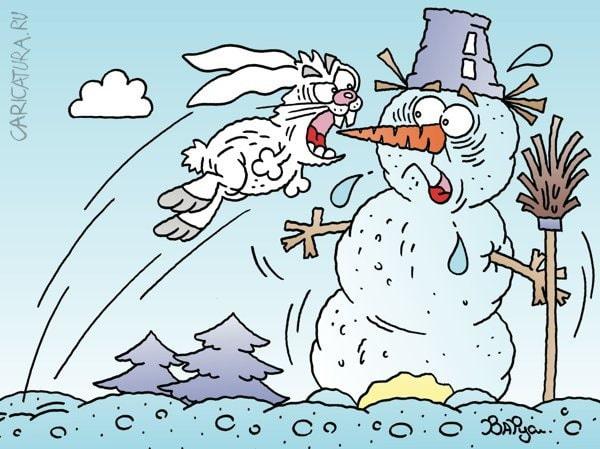карикатура снеговик