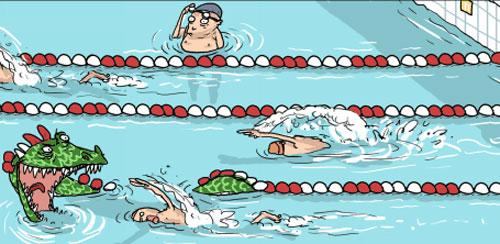 карикатура-пловцы