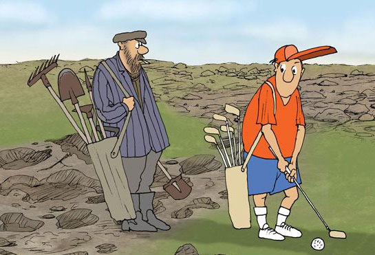карикатура-гольф