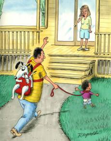 карикатура-на-прогулке-с-ребенком