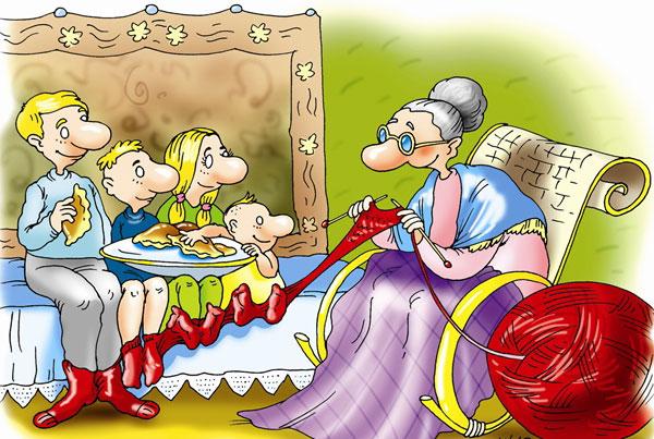 карикатура-бабушка